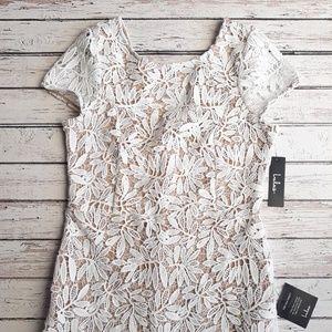 NWT LULUS Lace Overlay Deep V Back Sheath Dress XL